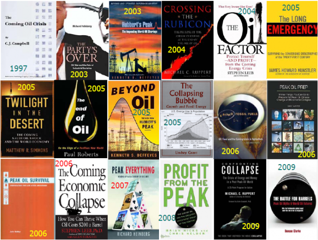 Covers of books on peak oil and related subjects
